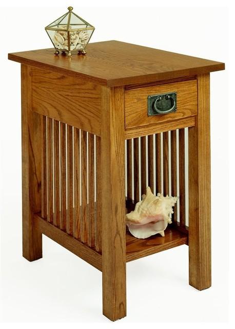 Oak Side Table: Workbench Classics Chairside Table W Drawer (Golden Oak