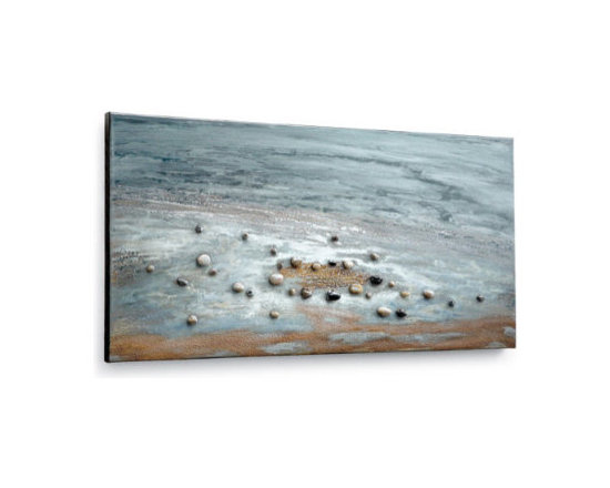 "Grandin Road - Grays on the Beach Artwork - 36""W x 24""H - Soothing imagery of rich navy, dusty blue, white, and beige tones. The addition of natural sand and pebbles makes each work one of a kind. Canvas stretched over a solid wood frame. Arrives ready to hang. A deep, high gloss finish and the use of three-dimensional elements make our ""Pebbles on the Beach' Artwork one of the most extraordinary works of art we've ever offered.  .  .  .  ."
