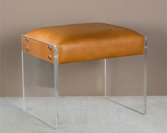 Aiden Tan Leather Ottoman with Acrylic Legs -