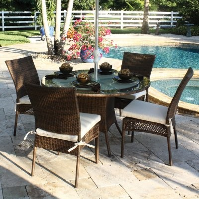 Hospitality Rattan Grenada 48 in. Patio Dining Set - Seats 4 - Viro Fiber Antiqu modern-patio-furniture-and-outdoor-furniture