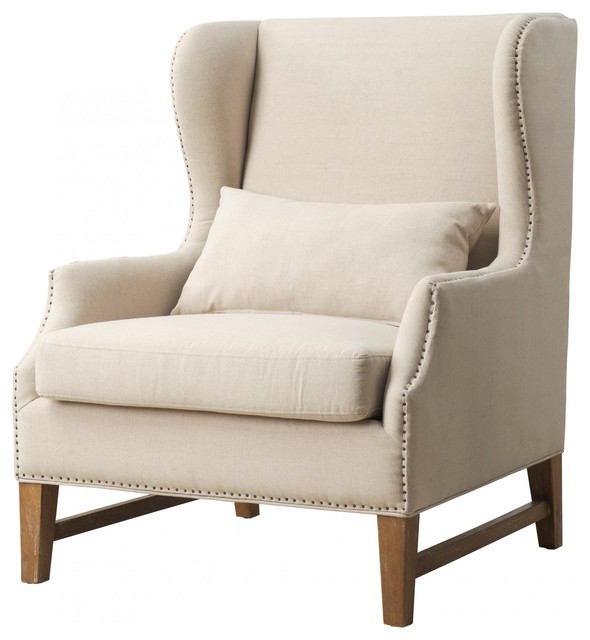 Devon Linen Wing Chair Contemporary Armchairs And