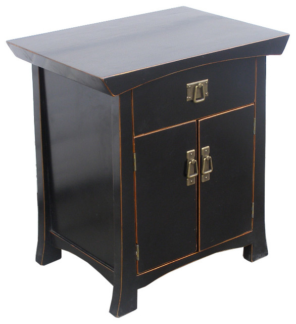Black Solid Elm Wood Night Stand End Table Cabinet
