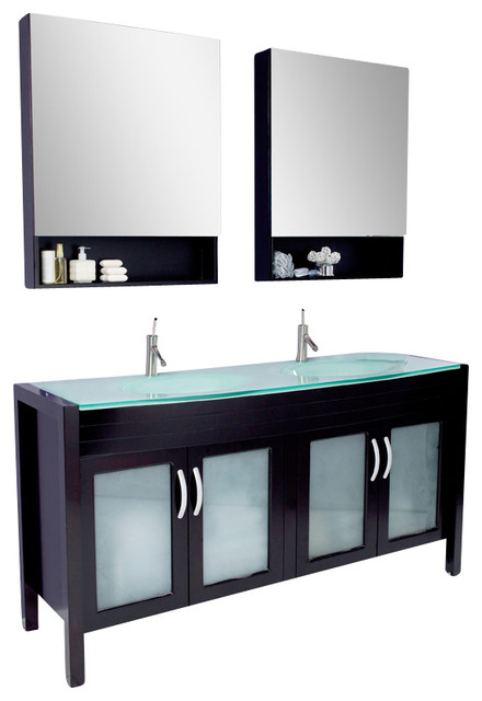 Fresca infinito modern bathroom vanity w tempered glass for Decorplanet bathroom vanities