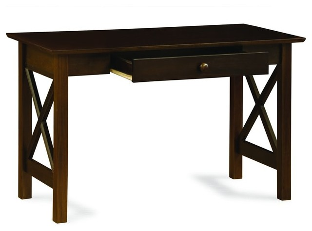 Atlantic Furniture Lexington Writing Desk in Antique Walnut - Transitional - Desks And Hutches ...