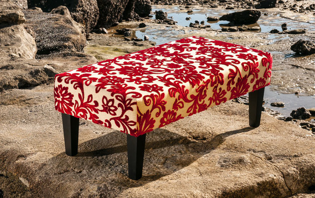 Red Velvet Floral Fabric Ottoman With Wood Legs