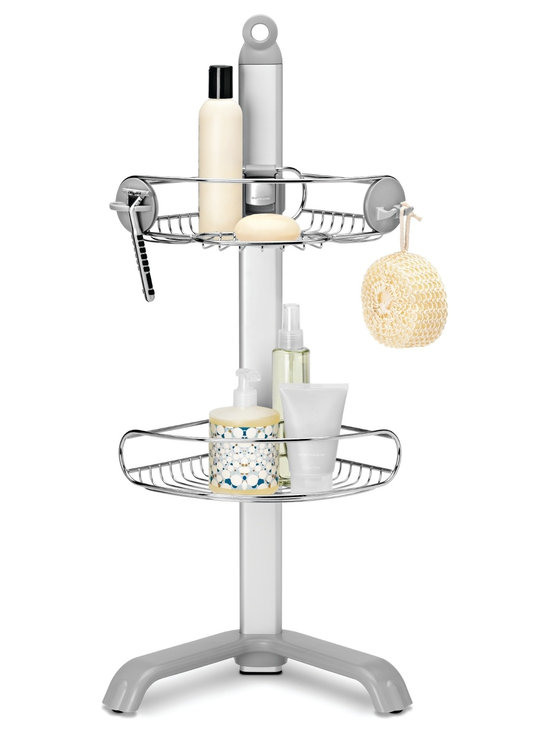simplehuman - Corner Shower Caddy - Keep shower clutter under control with this handy corner caddy. Corrosion-resistant shelves slide up and down an aluminum column to accommodate your bathing essentials, while the adjustable feet remain stable even on sloped surfaces.