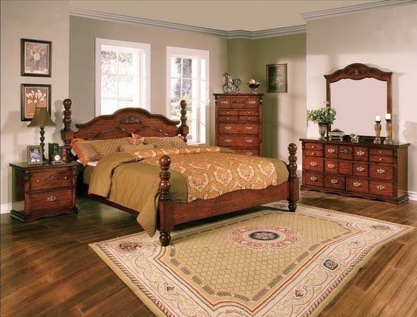 Crown mark 5 pc coventry traditional dark pine queen for Mark v bedroom volume