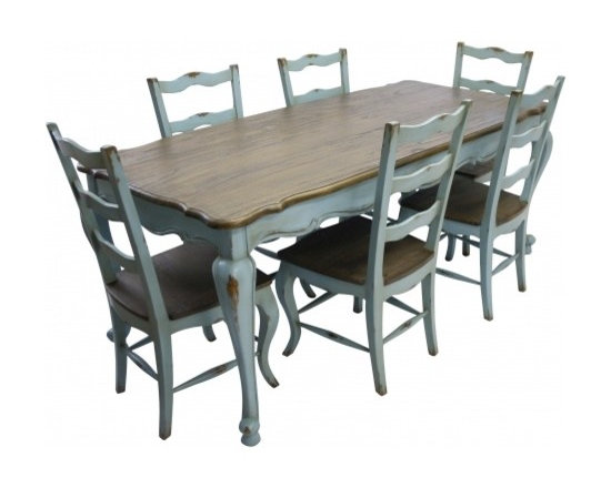 Chichi Furniture Exclusives. - A stunning Rustic Dining set oozing French style and character. A substantial chunky french dining table with our classic Rustic French country finished top and beautiful cabriole style legs. Complete with six matching dining chairs. A truly stylish chic piece for your dream dining room!