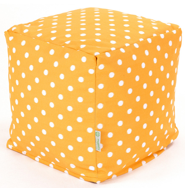 Outdoor Citrus Ikat Dot Small Cube contemporary-outdoor-footstools-and-ottomans