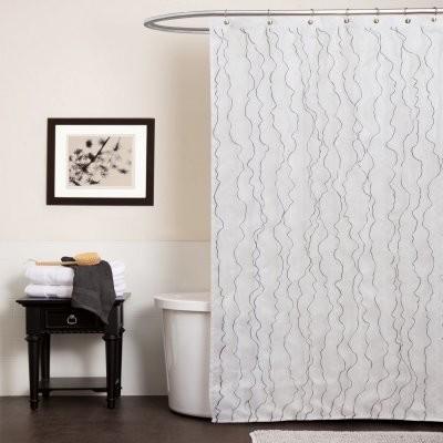 Lush Decor Romana White Shower Curtain modern-curtains