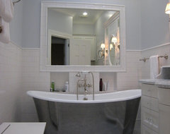 Free standing tub in very light bathroom traditional-bathroom