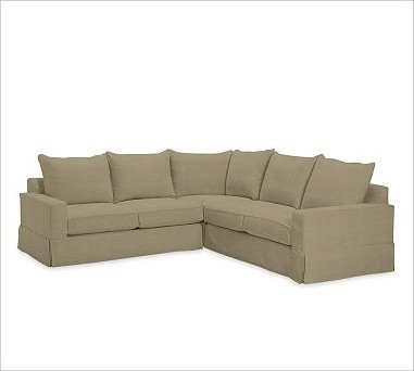 PB Comfort Square 3-Piece L Shaped Sectional, Polyester Wrap Cushions, Knife-Edg traditional-decorative-pillows