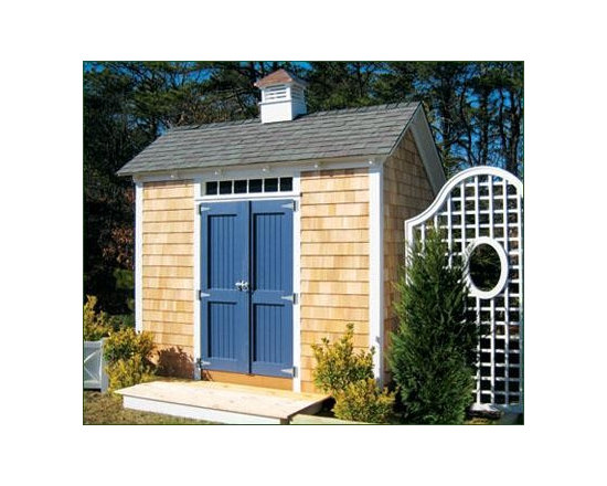 "10' x 10' Stony Brook Saltbox - Shown with 4' double 2 panel beaded doors with 4' p.v.c. transom window over for added light. To accommodate a transom window over a door as pictured, this building has a raised wall height of 88"". Standard hardware; standard craftsman trim painted white. White cedar shingle siding on all 4 walls; upgraded architectural roofing and 16' copper top cupola."