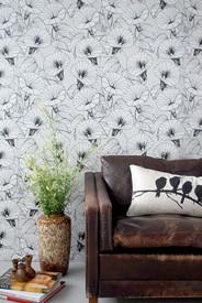 Ferm Living Bindweed Wallpaper, Black/White/Light Gray contemporary-wallpaper