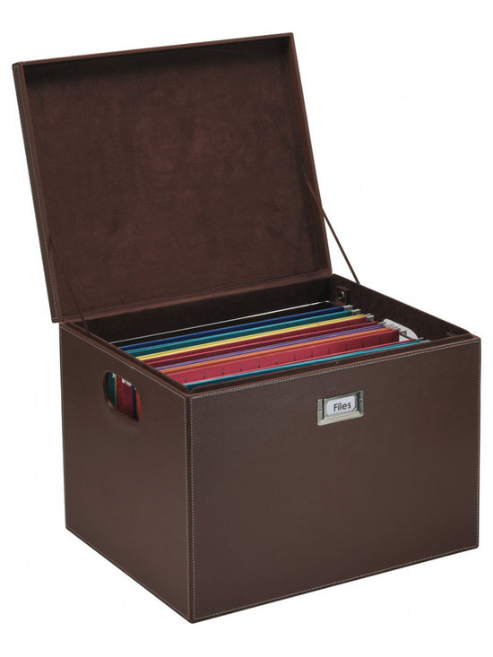 Great Useful Stuff - Hanging File Box - Brown Leatherette - All that paperwork cramping your style? Get organized with this elegant hanging file box. The removable bar adjusts to hold either letter size or legal size folders so you can create your ideal filing system.