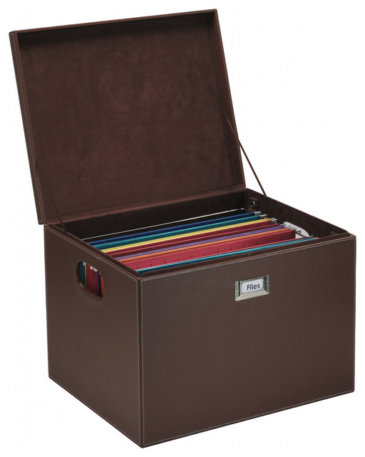 Hanging File Box - Brown Leatherette - Transitional - Filing Cabinets - by Great Useful Stuff