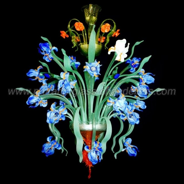 Iris flowers 24 lights Murano glass chandelier contemporary-chandeliers