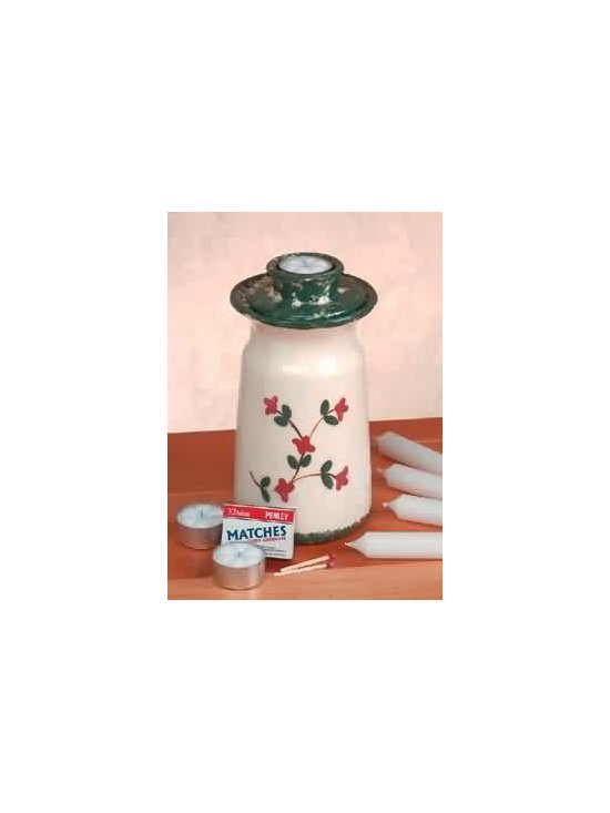 White Pottery Candle Holder - White Pottery Candle Holder: Be prepared for power outages and other such emergencies with this holder.