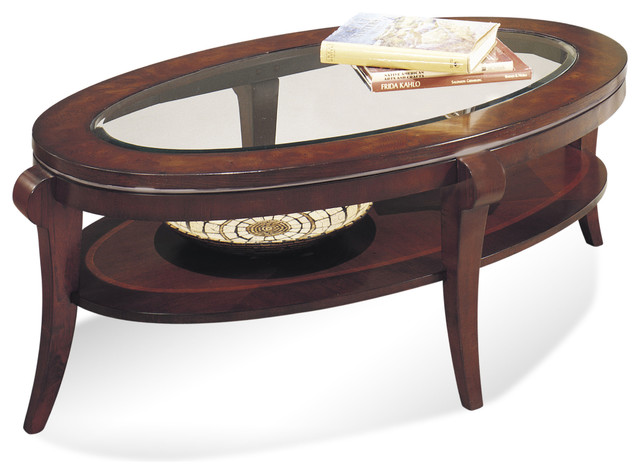 Ashland heights oval cocktail table inset glass for Contemporary oval coffee tables