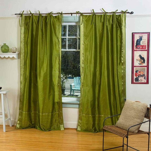 Pair of olive green tie top sheer sari curtains 80 x 108 - Curtains for olive green walls ...