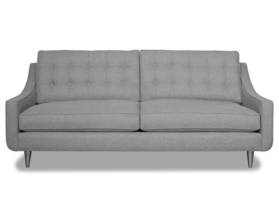 Apt2B.com - Cloverdale Sofa Grey, Mountain Grey/Sprite - This cozy sofa is as comfortable as it is sophisticated. With an unexpected pop of color in the button tufting and a nice deep seat it's a perfect place to cuddle up with your date.