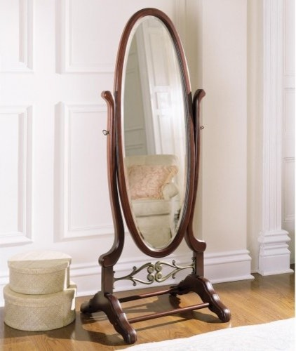 Powell Heirloom Cherry Cheval Floor Mirror - 25.25W x 63H in. traditional mirrors