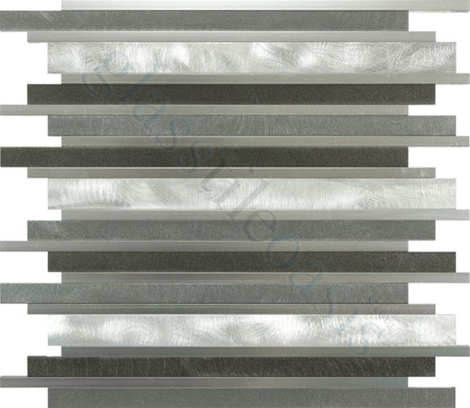 Smoke Random Bricks Grey Backsplash Brushed & Polished Aluminum