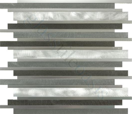 Smoke Random Bricks Grey Backsplash Brushed & Polished Aluminum