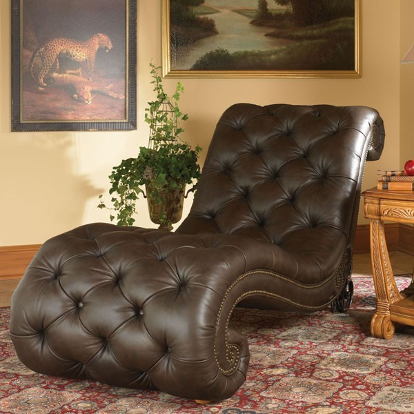 Aico furniture trevi leather armless chaise in brown for Aico trevi leather armless chaise in brown