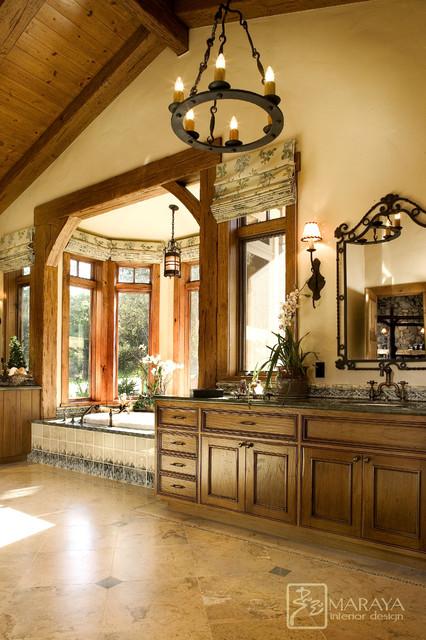 Ranch mountain master bath farmhouse bathroom santa for Ranch style bathroom ideas
