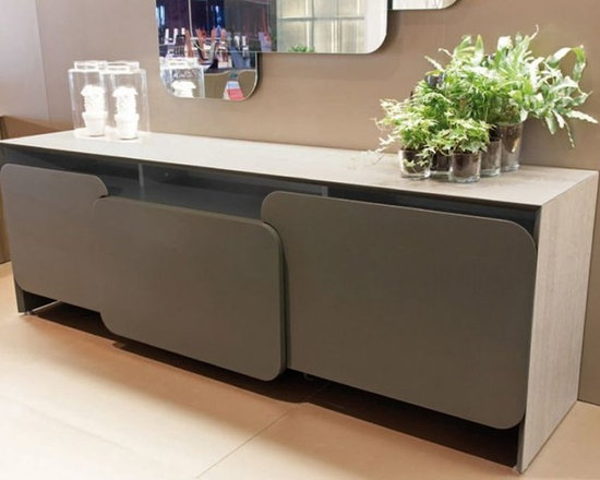 Alexia Sideboard - Sideboard, wood or lacquered wooden frame, 2 doors and 1 big middle drawer in wood or lacquered wood.