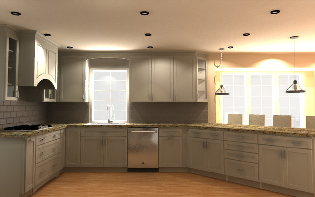 Whit Kitchen With 45 Degree Angle