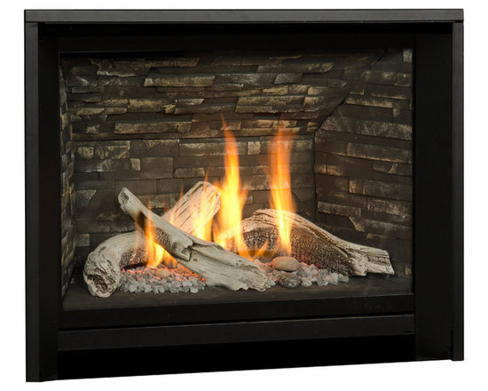 H5 Series Fireplace - 1100I H5 Engine shown with Logs and Minimal Trim Kit in Black