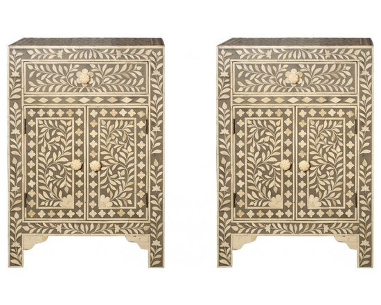 Bone Inlay Nightstand - This fabulous night-stand side table cabinet in exceptional gray real bone-inlay is a remarkable feat of superior craftsmanship and design. Painstakingly created from wood solids the finished overlay features bone inlays formed and shaped in a vine pattern.  Variations in bone inlay are not uncommon, giving each piece one-of-a-kind distinction.This wonderfully ornate Bone Inlaid takes a team of skilled craftsmen to complete. Individual pieces of reliably sourced camel bone have been skilfully carved and fixed into black resin on a wooden frame to create these items. The results are simply stunning.