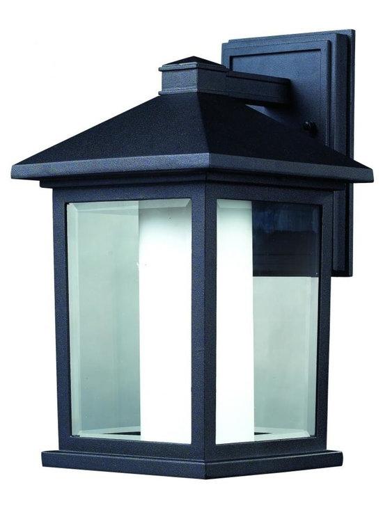 Joshua Marshal - One Light Black Clear Beveled & Matte Opal Glass Wall Lantern - Finish: Black