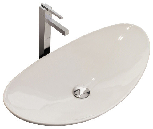 Oval-Shaped White Ceramic Vessel Sink, No Hole contemporary-bathroom-sinks