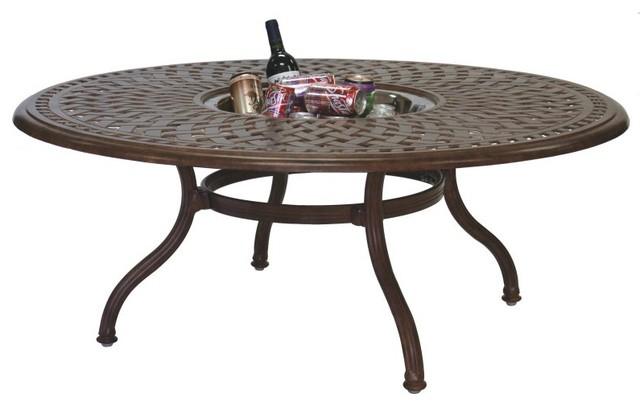 Darlee Series 60 Cast Aluminum Round Tea Patio Table With Ice Bucket Insert