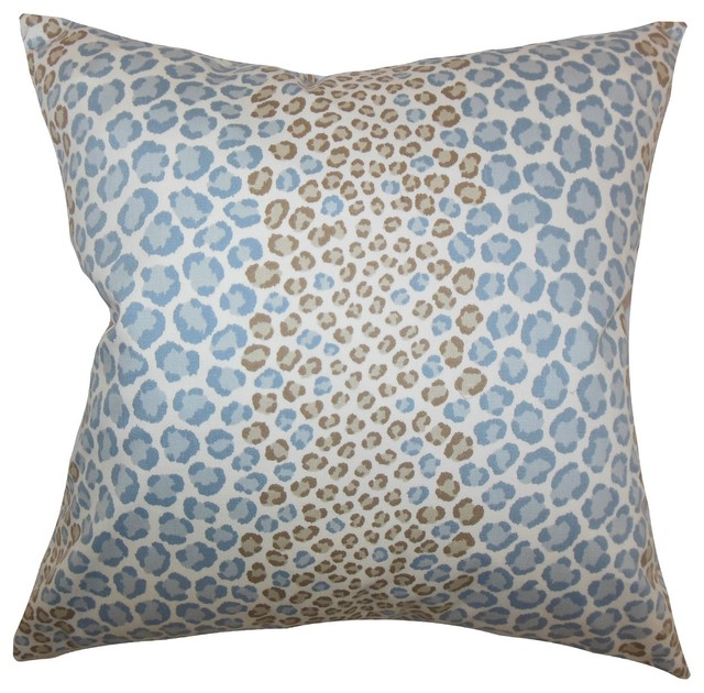 "Mailys Animal Print Pillow Blue Brown 18"" x 18"" contemporary-decorative-pillows"