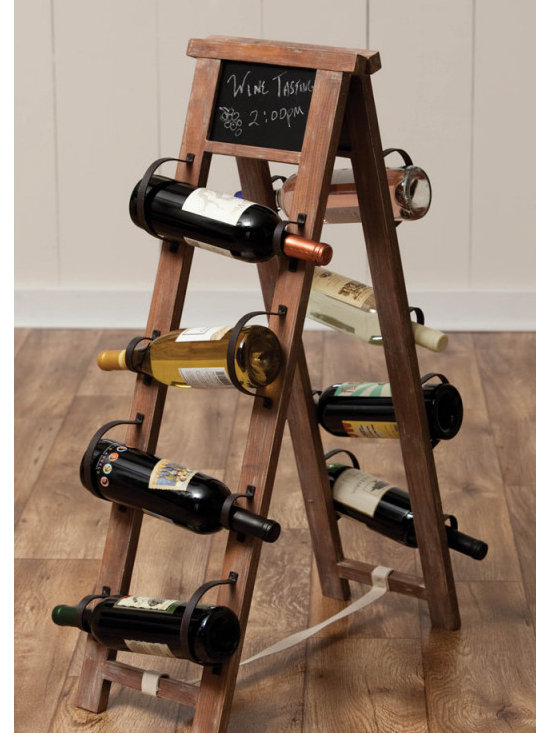 Wood & Metal Wine Rack with Chalkboard -