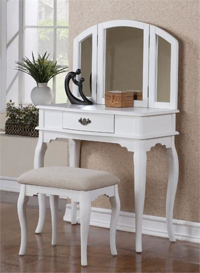 Chantal White Makeup Dressing Table W Bench Traditional Bedroom Ma