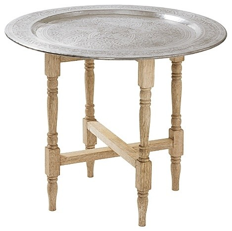 Hammered metal tray table traditional side tables and for Tray side table