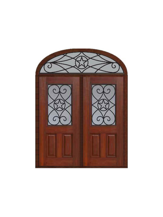 "Prehung Transom Double Door 80 Fiberglass Austin Texas Star - SKU#    MCT012WA_DFHAG2-EAGBrand    GlassCraftDoor Type    ExteriorManufacturer Collection    1/2 Lite Entry DoorsDoor Model    AustinDoor Material    FiberglassWoodgrain    Veneer    Price    3885Door Size Options    2(36"")[6'-0""]  $0Core Type    Door Style    Texas StarDoor Lite Style    1/2 LiteDoor Panel Style    2 PanelHome Style Matching    Door Construction    Prehanging Options    PrehungPrehung Configuration    Double Door and Elliptical TransomDoor Thickness (Inches)    1.75Glass Thickness (Inches)    Glass Type    Double GlazedGlass Caming    Glass Features    Tempered glassGlass Style    Glass Texture    Glass Obscurity    Door Features    Door Approvals    Energy Star , TCEQ , Wind-load Rated , AMD , NFRC-IG , IRC , NFRC-Safety GlassDoor Finishes    Door Accessories    Weight (lbs)    753Crating Size    36"" (w)x 108"" (l)x 89"" (h)Lead Time    Slab Doors: 7 Business DaysPrehung:14 Business DaysPrefinished, PreHung:21 Business DaysWarranty    Five (5) years limited warranty for the Fiberglass FinishThree (3) years limited warranty for MasterGrain Door Panel"