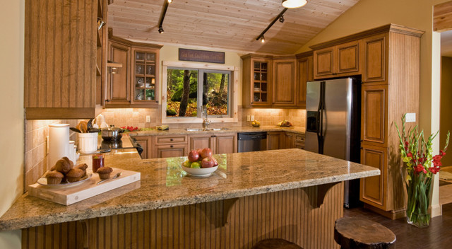 Light Brown Kitchen Cabinets   Sandstone Rope Door   Kitchen Cabinet Kings - Traditional ...