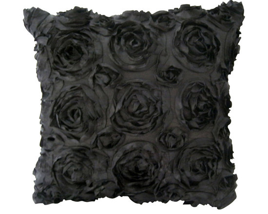 KH Window Fashions, Inc. - Texture Rose Pillow- Black - This textured rose pillow adds a pizazz to any space. The texture is exquisite.