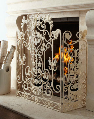 Antiqued White Fireplace Screen Fireplace Screens Other Metro By Suzy Cacic