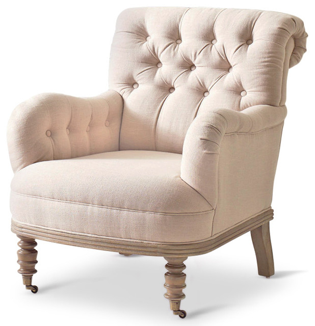 Naomi french country tufted linen rolled back arm chair Tufted accent chair