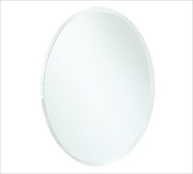 Eleanor Frameless Mirror Oval Small 13 X 18 Traditional Bathroom Mirrors By Pottery Barn