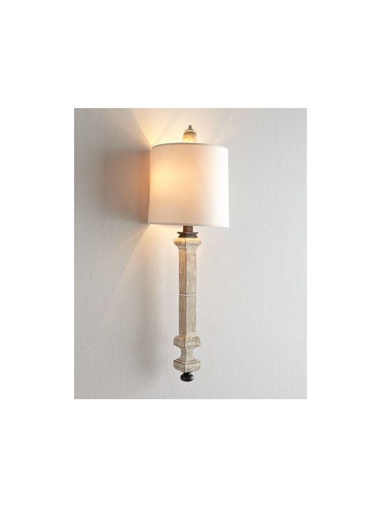 """VISUAL COMFORT - VISUAL COMFORT """"Aldo Railing"""" Sconce - A new take on the balustrade look, this sconce features a slender """"rail"""" body. Its unique configuration gives it the illusion of floating in space. Designed by Thomas O'Brien for Visual Comfort. Handcrafted of wood and iron. Belgian-white finish. Na..."""
