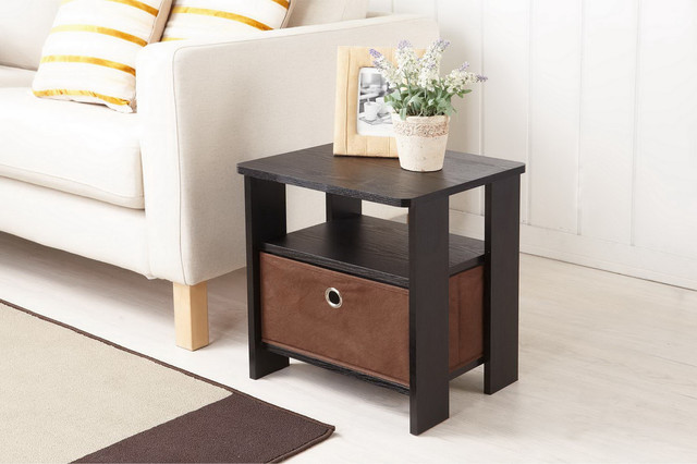 Furniture of america fresno collection end table with removable fabric storage b contemporary - Contemporary side tables with storage ...
