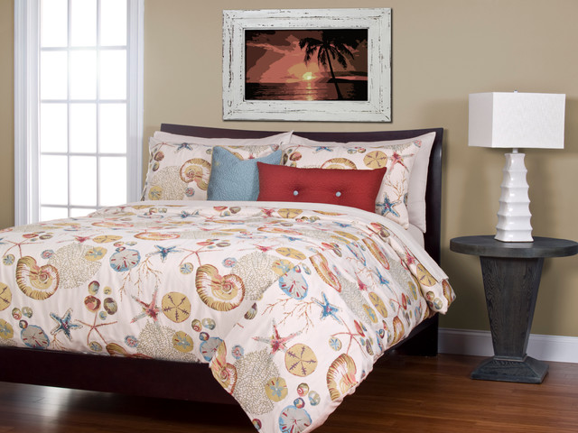 Naples Coral Beach House Bedding beach-style-duvet-covers-and-duvet-sets